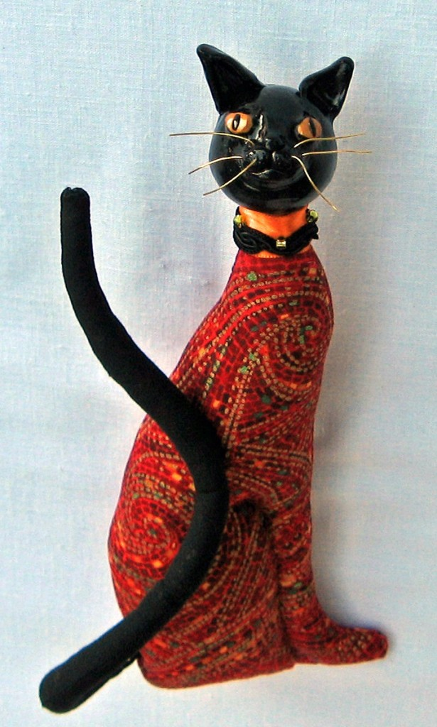 """Miu, Egyptian Cat in Red."" An original CallyWally Soft-Sculpture. Wall-Art. Mixed Media. Approx. 12"" tall. Cally Curtis, Artist. For Sale."