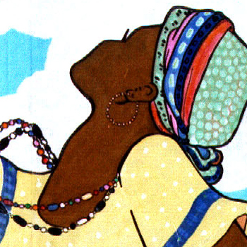 "Detail from ""African Dancers,"" by Cally Curtis. Acrylic on Cardboard."