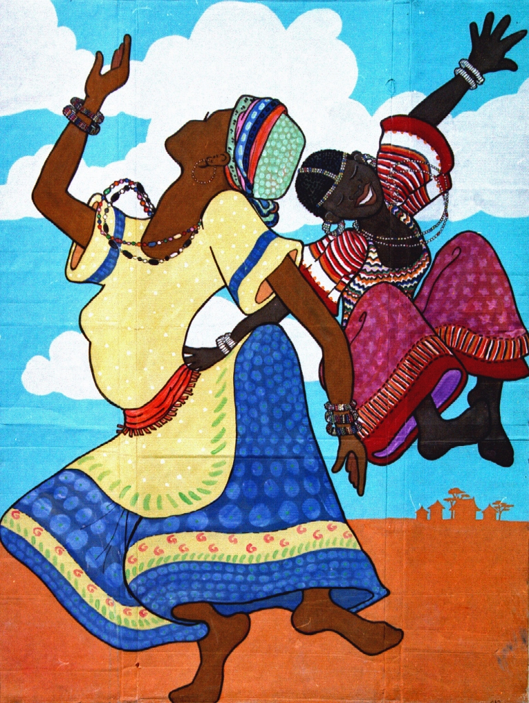 """African Dancers."" Cally Curtis, Artist. Acrylic on Cardboard, 72x54."" Cally Curtis, Artist. Sold."