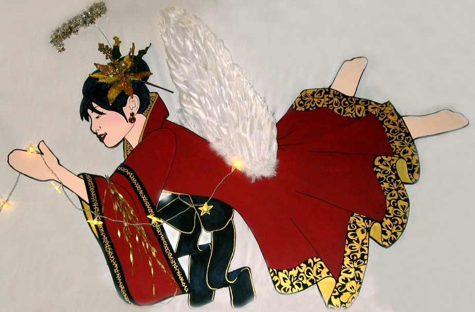 """Insook,"" Asian 3-D Angel Canopy piece. Acrylic on Masonite. Mixed-Media, 96"" x 48."" Cally Curtis, Artist. Sold."