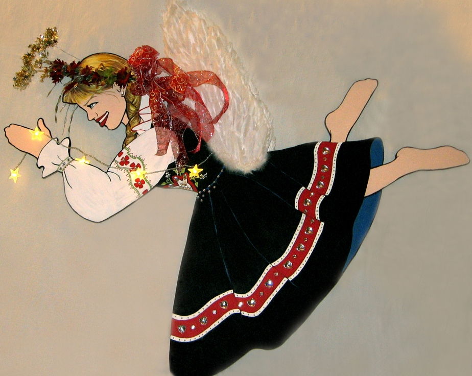 """Kari,"" Scandinavian 3-D Angel Canopy piece. Acrylic on Masonite. Mixed-Media, 96 x 48."" Cally Curtis, Artist. Sold."