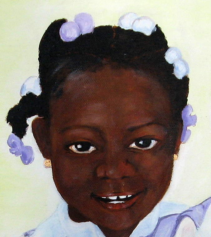 "Painting, ""Belizean School Girl,"" Acrylic on Canvas, 24x18."" Cally Curtis, Artist. In progress."