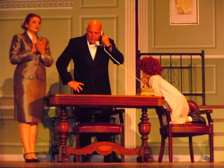 "Daddy Warbucks' Mansion. Set and Prop Design by Cally Curtis for the musical ""Annie,"" McCoy's Grand Theatre."