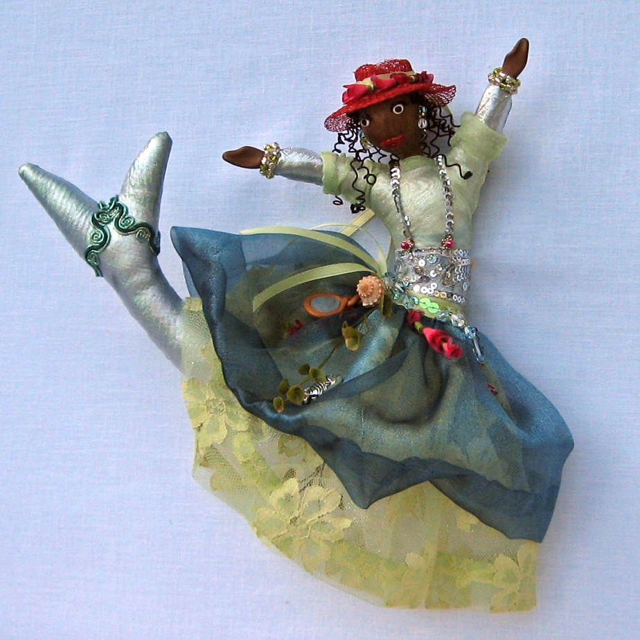 """Laserine, Caribbean Sea Goddess."" An original CallyWally Soft-Sculpture. Wall-Art. Mixed Media. Approx. 12"" tall. Cally Curtis, Artist. Sold."