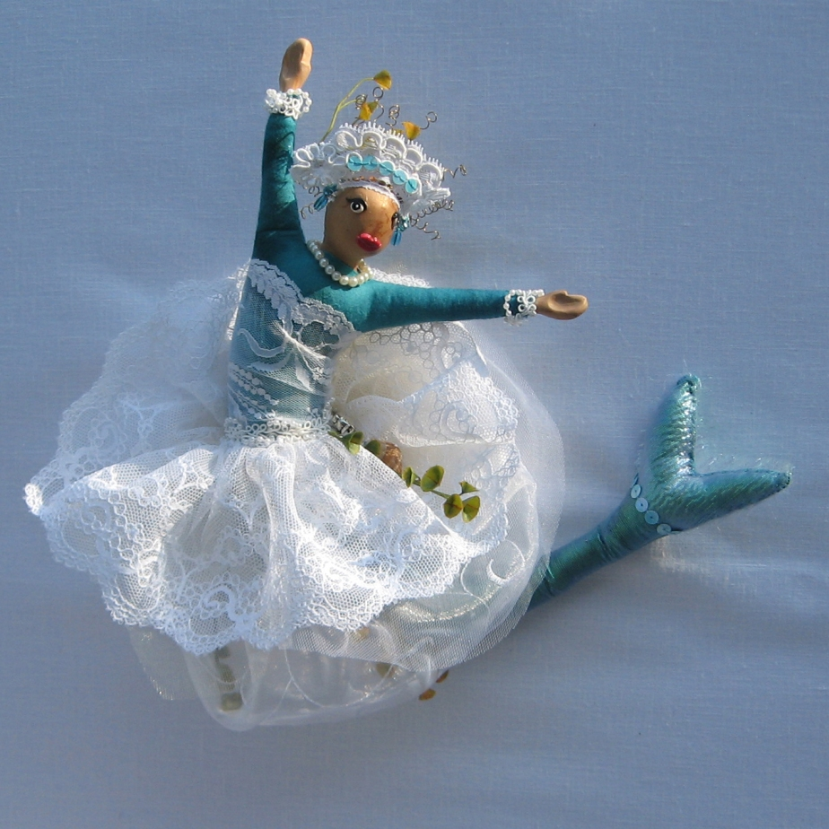 """Salacia, Roman Sea Goddess."" An original CallyWally Soft-Sculpture. Wall-Art. Mixed Media. Approx. 12"" tall. Cally Curtis, Artist. Sold."
