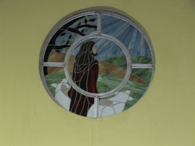 """The Good Shepherd,"" Stained Glass design for Ebeneezer Methodist Church, Belize City, Belize. Cally Curtis, Artist."