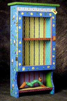 Hand-painted Cabinet, Folk Art motif, by Cally Curtis