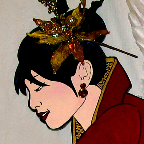 "Detail, ""Insook,"" Asian 3-D Angel Canopy piece. Acrylic on Masonite. Mixed-Media, 96"" x 48."" Cally Curtis, Artist. Sold."
