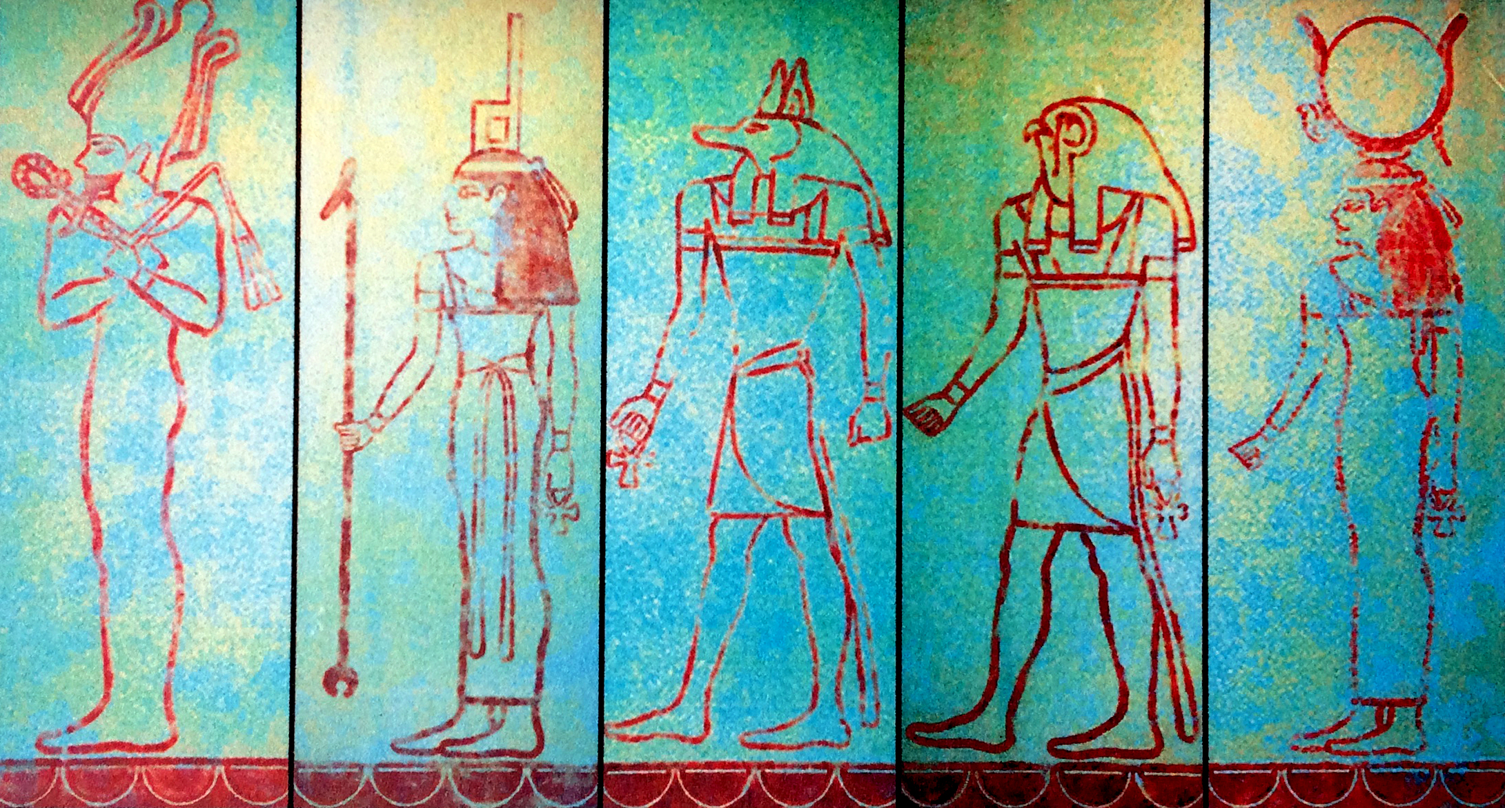 """Egyptian Gods,"" by Cally Curtis. Acrylic on Pineboard. Each panel 48"" x 96."" Michael C. Carlos Museum."