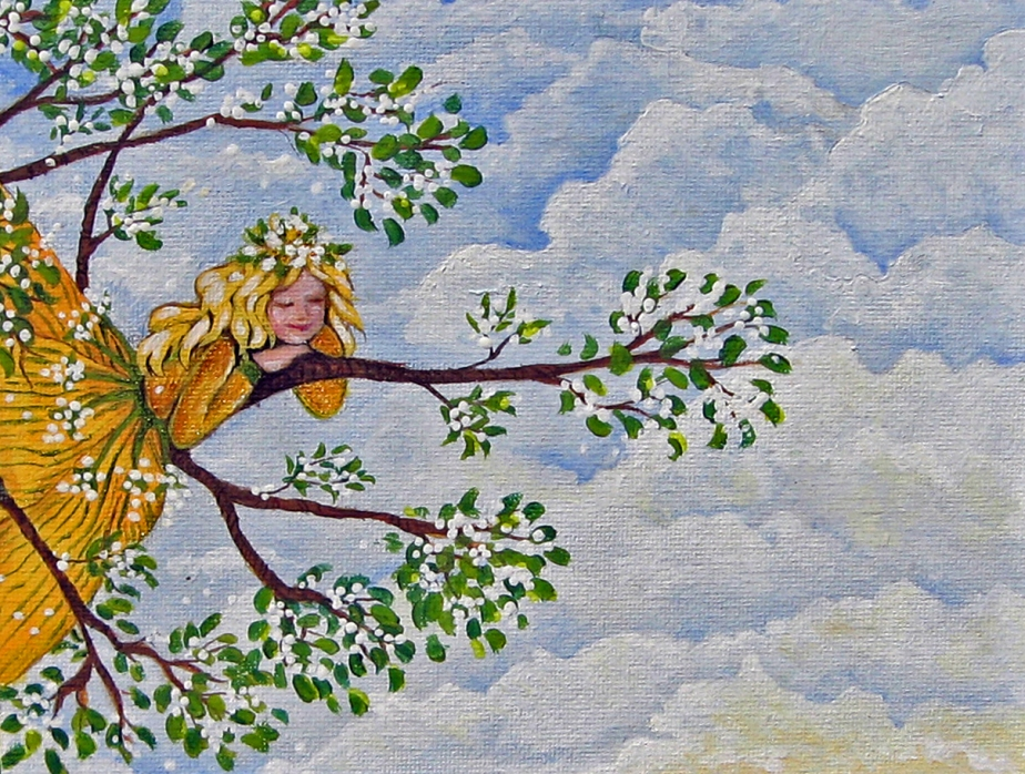 """Tree Fairy."" Acrylic on Canvas. 8x10."" Cally Curtis, Artist. Sold."
