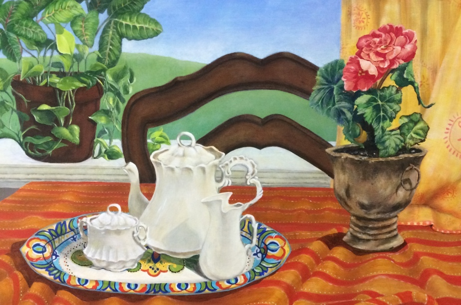 "Painting, ""Mother's Coffee Service."" Acrylic on Canvas. 24x36."" Cally Curtis, Artist. For Sale."