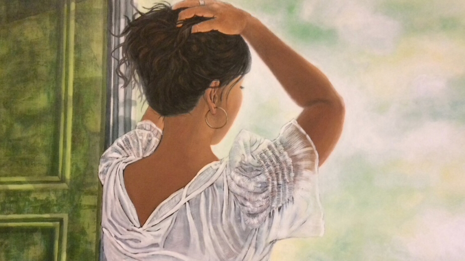 "Painting, ""At The Window."" Acrylic on Canvas. 24x36."" Cally Curtis, Artist"