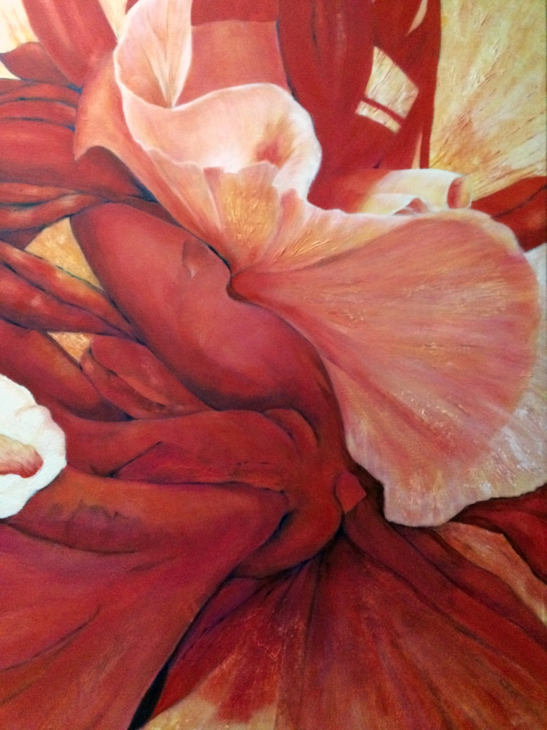 "Painting, ""Heart of Hibiscus"" Acrylic on Canvas. 36x24."" Cally Curtis, Artist. Sold."
