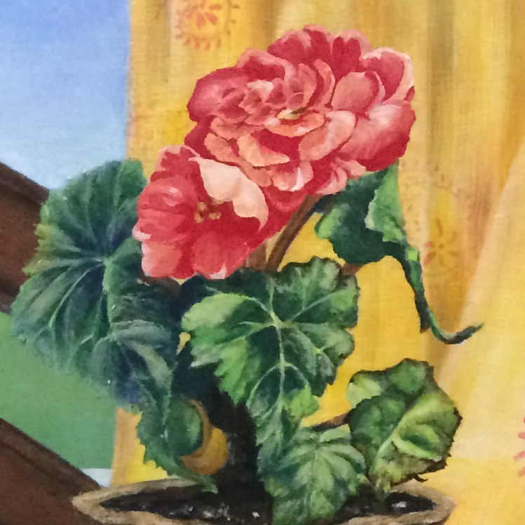 """Painting Detail, """"Mother's Coffee Service."""" Acrylic on Canvas. 24x36."""" Cally Curtis, Artist. For Sale."""