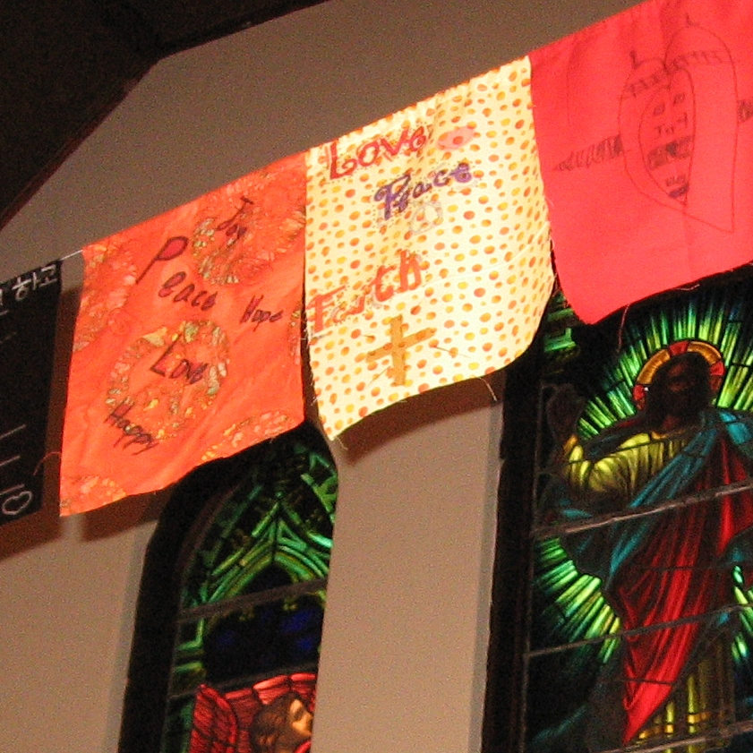 """""""Prayer Flag Installation,"""" example from """"Breath of God"""" Liturgical Art Workshop for groups and congregations. Cally Curtis, Artist & Facilitator."""
