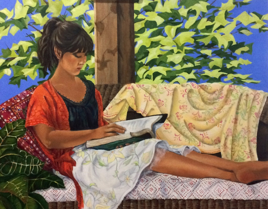 "Painting, ""Sunday Afternoon."" Acrylic on Canvas. Cally Curtis, Artist."