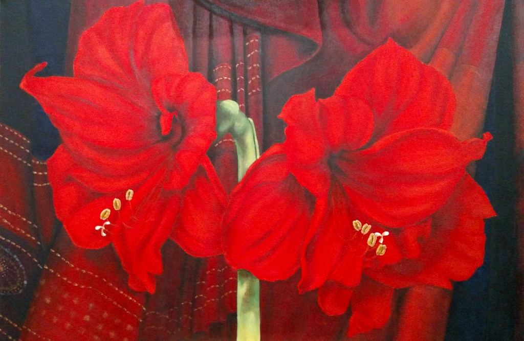 """Christmas Amaryllis."" Acrylic on Canvas. Cally Curtis, Artist. For Sale."